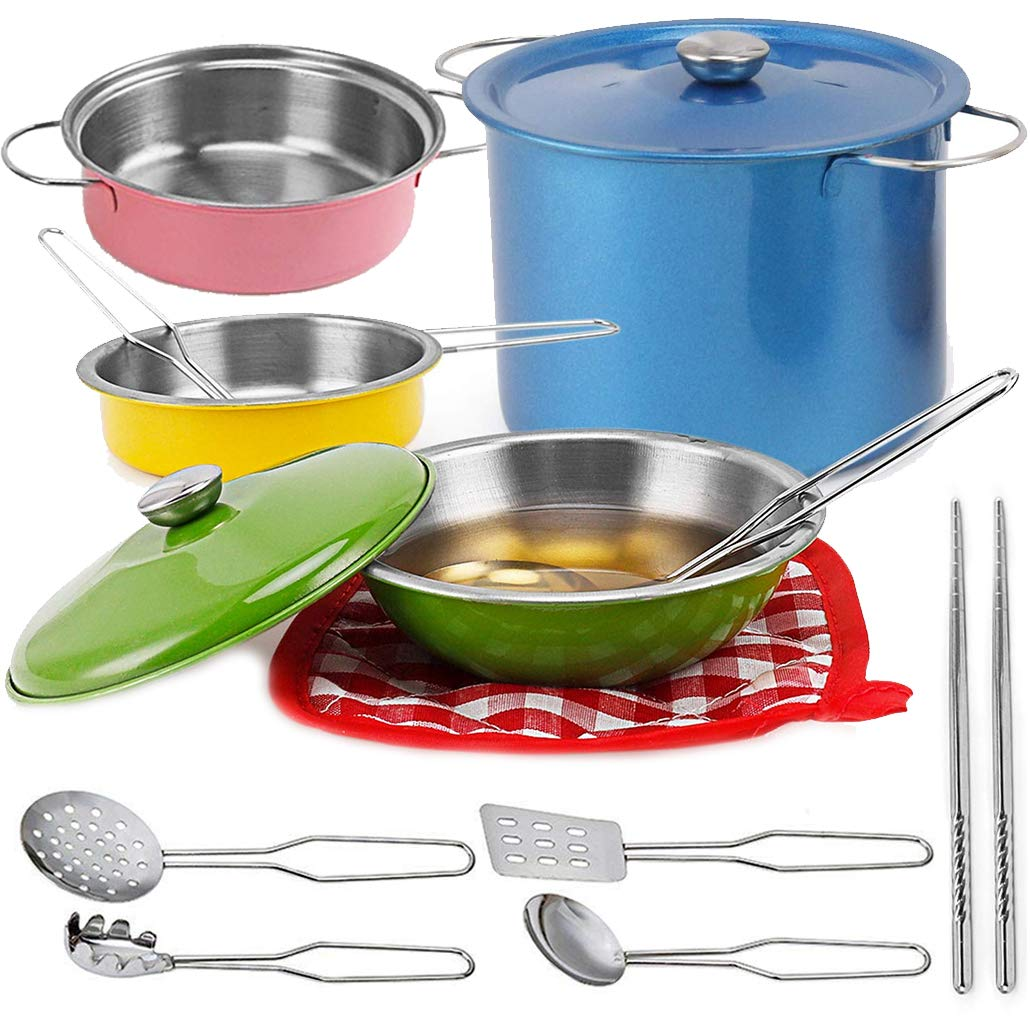 Liberty Imports Multicolored Stainless Steel Metal Pots and Pans Kitchen Cookware Playset for Kids with Cooking Utensils Set by Liberty Imports