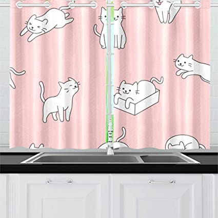 N A Smart Jumping Cute Cat Kitchen Curtains Window Curtain Tiers For Cafe Bath Laundry Living Room Bedroom 26x39inch 2pieces Amazon Co Uk Kitchen Home