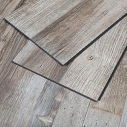 MAYKKE Restored Wood 23 Sq Ft Vinyl Locking Plank Flooring 48x7 inch, Pack of 10, Easy Installation Hardwood, Grey Brown, JHA1010101