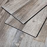 MAYKKE Restored Wood 23 Sq Ft Vinyl Locking Plank Flooring 48x7 inch, Pack of 10, Easy Installation Hardwood, Grey Brown, JHA1010101