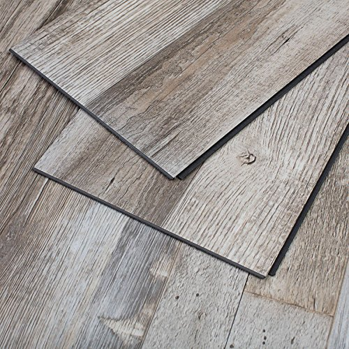 Luxury Vinyl Plank - MAYKKE Restored Wood 23 Sq Ft Vinyl Locking Plank Flooring 48x7 inch, Pack of 10, Easy Installation Hardwood, Grey Brown, JHA1010101