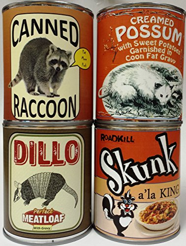 Gag Canned Meat Combo Pack II: Creamed Possum, Raccoon, Dillo and (2 Combo Fat Pack)