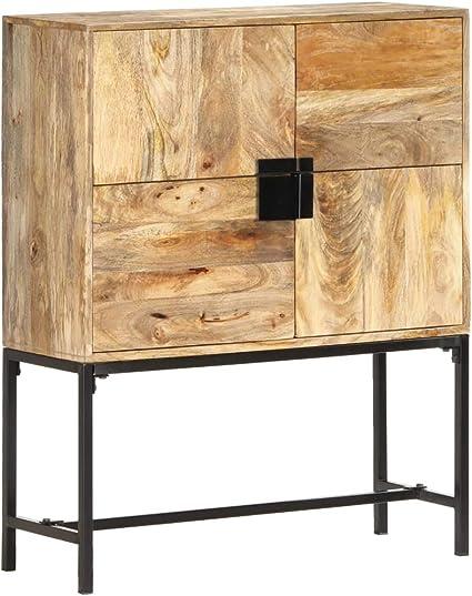 FAMIROSA Buffet avec Porte 45x32x110 cm Bois de Manguier Solide