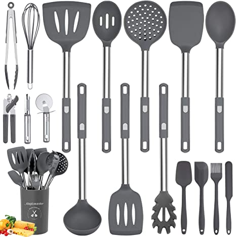 Amazon Com Silicone Utensil Set 18pcs Kitchen Utensils Set With Holder Stainless Steel Handles Nonstick Heat Resistant Silicone Bpa Free Non Toxic Kitchen Cooking Utensils Spatula Spoon Turner Tongs Gray Kitchen