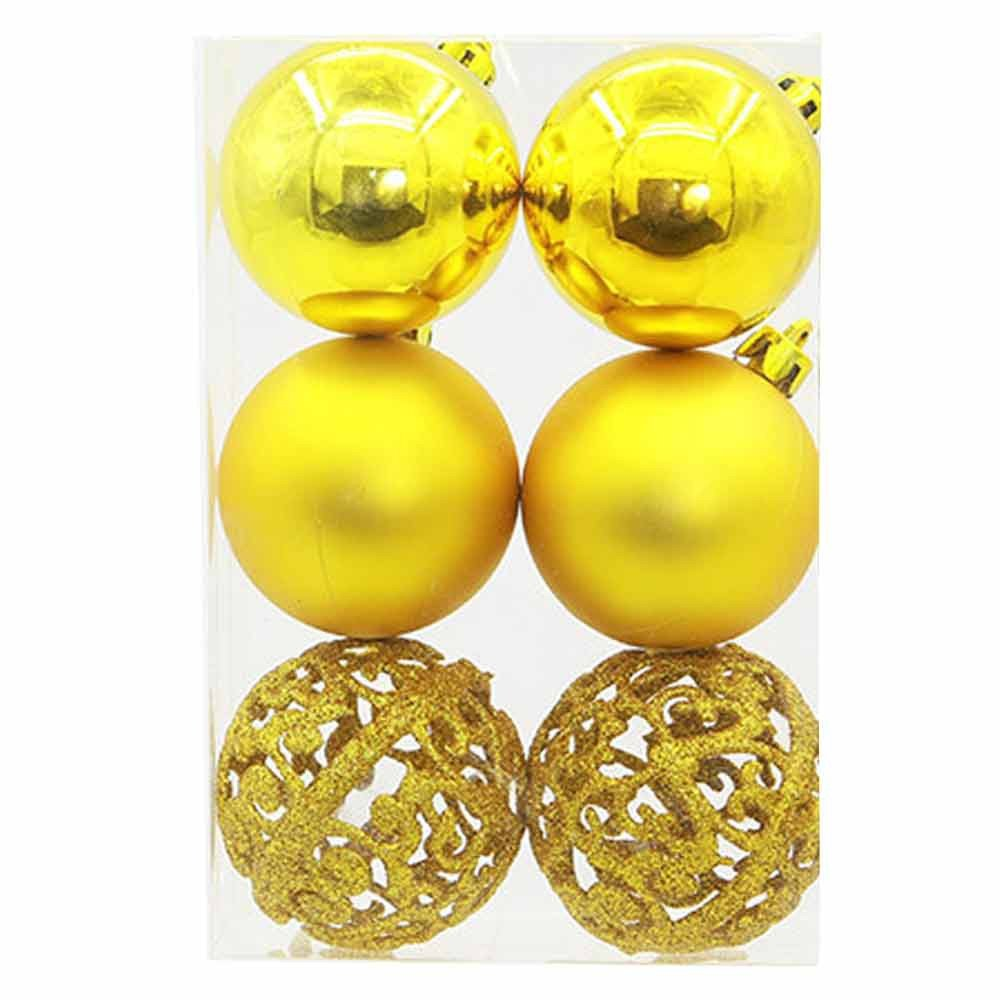 Clearance Tuscom 6Pcs 6cm Christmas Decoration Ball for Christmas Tree Party Wedding Ornament (6colors) (Yellow)