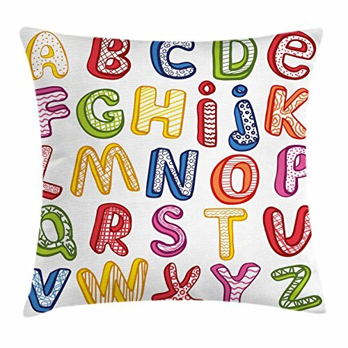 TINA-R Educational Throw Pillow Cushion Cover, Hand Drawn Colorful 3D Style ABC Letters with Kids Patterns Joyful Fun Design, Decorative Square Pillow Case, 18 X 18 Inches, Multicolor