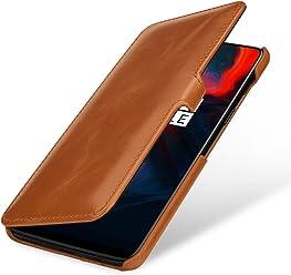 StilGut Housse OnePlus 6 Book Type en Cuir à Ouverture latérale avec Fonction Mise en Veille Automatique, Cognac avec Clip