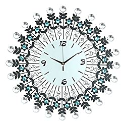 NEOTEND 3D Wall Clock 98pcs Diamonds Decorative Clock White Diameter 23.6