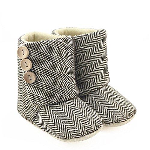 Ouneed® Krabbel schuhe , Herbst Winter Kleinkind Baby Girls Stripe Krippe Stiefel Soft Sole prewalker warm shoes Beige