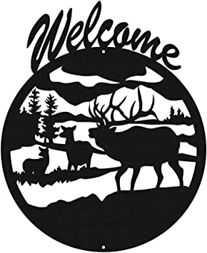 SWEN Products MOOSE WILDLIFE Black Metal Welcome Sign