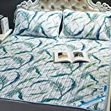 AMYDREAMSTORE Summer ice silk sleeping cool mattress tencel air conditioning soft topper Pad 1.8m bed summer washable folding mat 1.5 m mat three -pieces-U Queen2