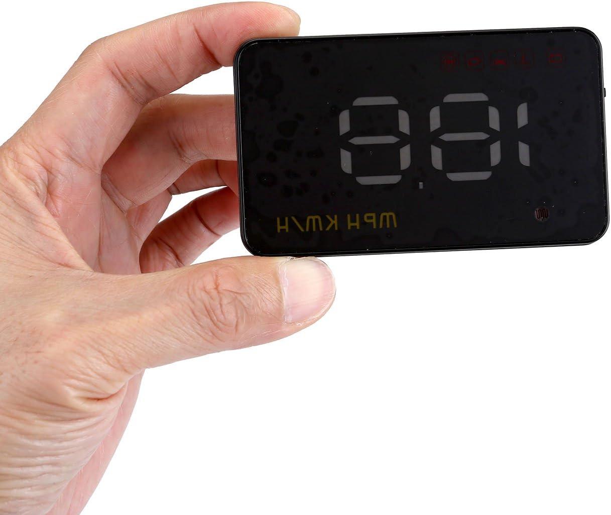 HUD avec interface OBD2//Euobd Plug 8,9/cm /écran KM//H MPH RPM D/élais davertissement film r/éfl/échissant et tapis antid/érapant inclus ACBungji Head Up Display