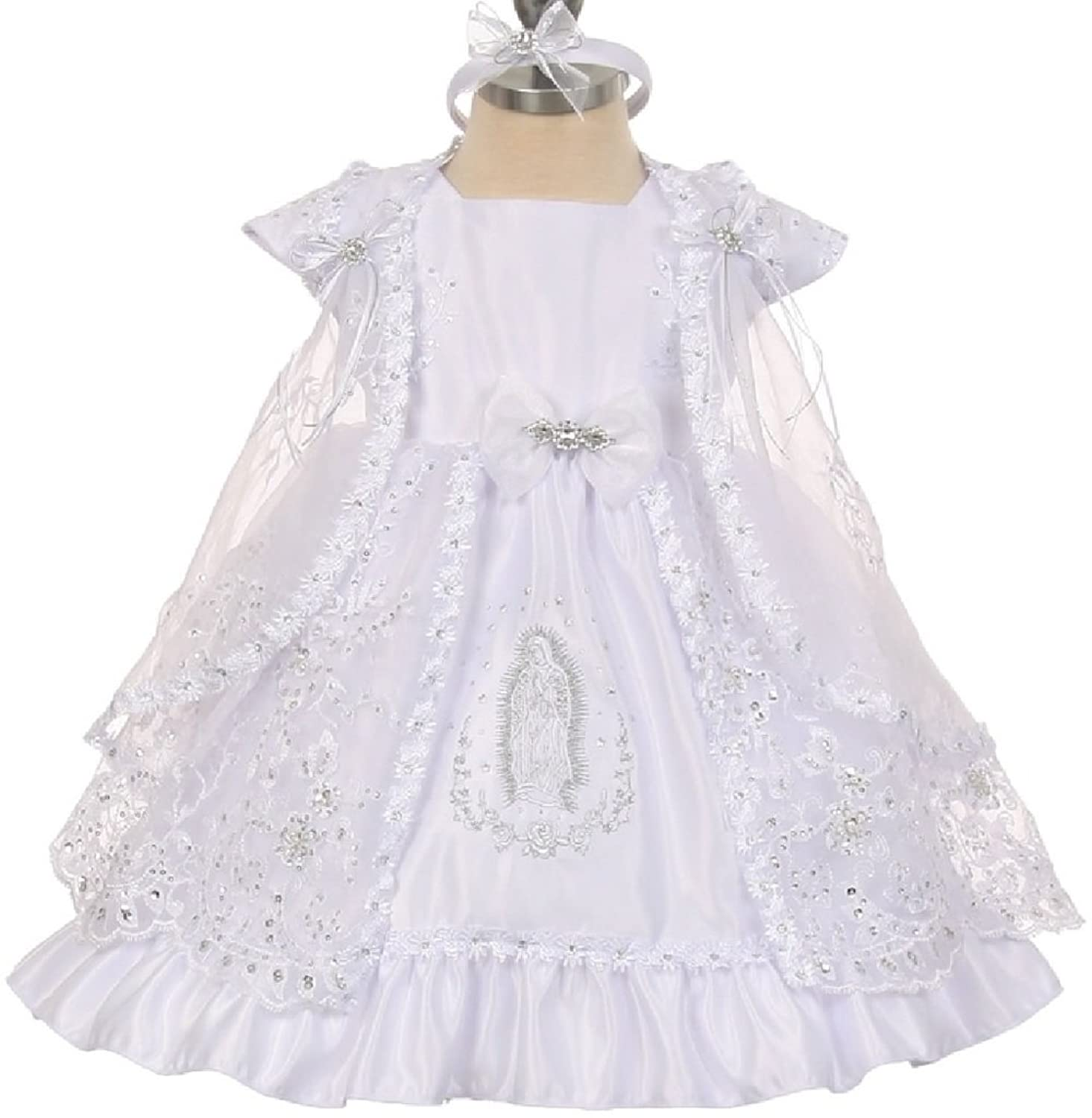 Amazon Rain Kids White Mary Silver Embroidered Baptism Dress