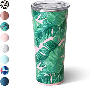 Swig Life 22oz Triple Insulated Stainless Steel Skinny Tumbler with Lid, Dishwasher Safe, Double Wall, and Vacuum Sealed Travel Coffee Tumbler in our Palm Springs Pattern (Multiple Patterns Available)