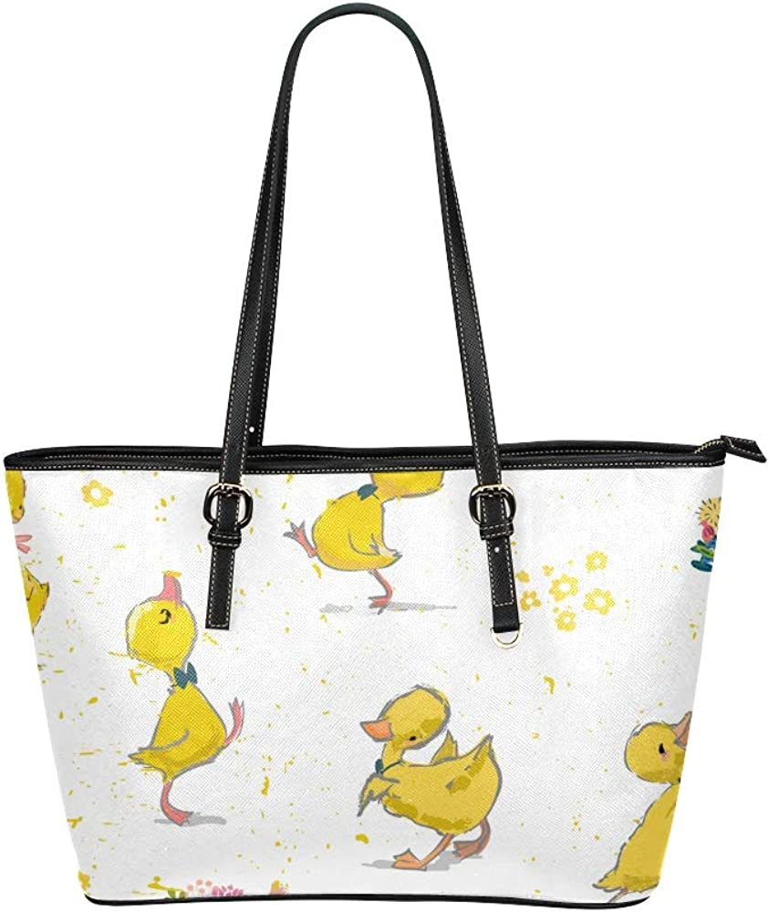 Travel Bags For Girls Lovely Yellow Rubber Duck Leather Hand Totes Bag Causal Handbags Zipped Shoulder Organizer For Lady Girls Womens Large Storage Tote