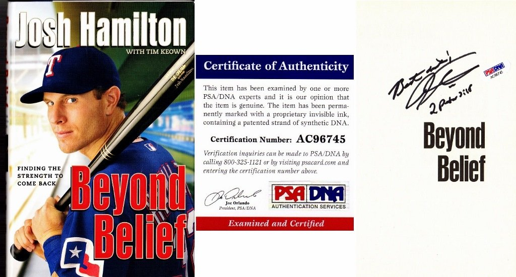 Josh Hamilton Signed Autographed Beyond Belief Hardcover Book with PSA/DNA Certificate of Authenticity (COA) Texas Rangers