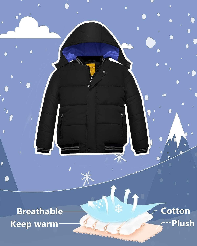aa03ec2ff36 Wantdo Abrigo Acolchado de Invierno para Niño con Capucha Extraíble A Prueba  de Viento Chaquetas Ropa