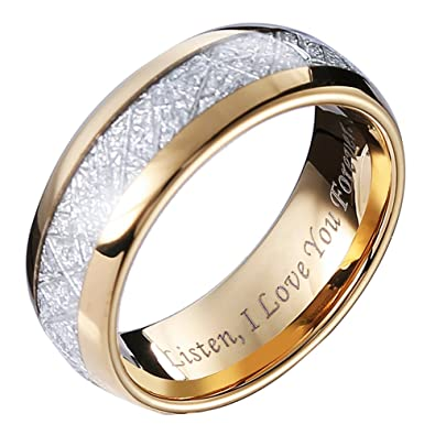 Amazon.com: Hosty Bten - Anillos de tungsteno con meteorito ...
