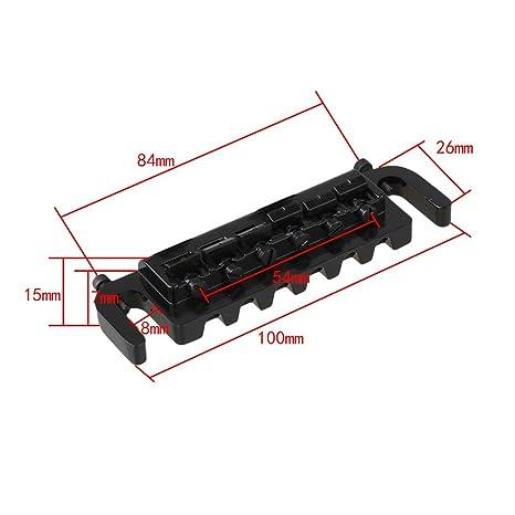yibuy negro ATADURA 6 ajustable silla de montar puente cordal para guitarra eléctrica: Amazon.es: Instrumentos musicales