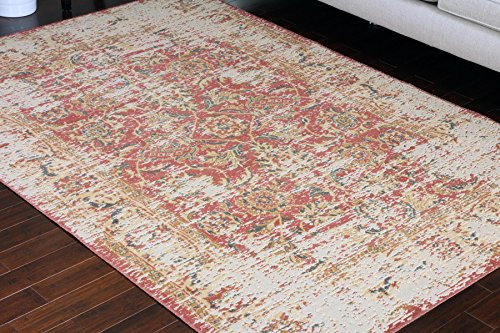 Cheap RUSTIC Collection Antique Style Wool Exposed Cotton Jute Oriental Carpet Area Rug Rugs Charcol Rust Beige 7003 Red 8×11 8×10 7'10×10'2