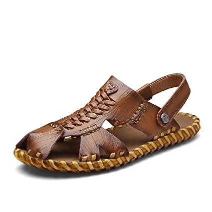 4dadf3a1e38db Amazon.com : GHFJDO Sports Outdoor Sandals, Men Leather Fisherman ...