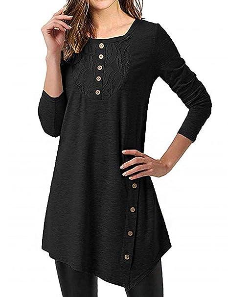 d1fc743b388 JOYMODE Women Long Sleeve Tops Lace Front Buttons Deco Tunic Blouse Tops  Black