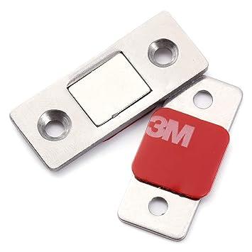 Cerradura magnética plana para puertas de armarios, cajones o aparadores con potente imán: Amazon.es: Bricolaje y herramientas