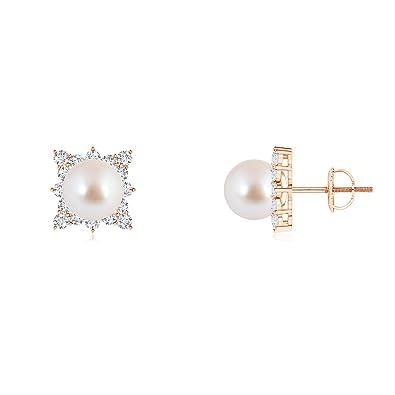 Angara Akoya Cultured Pearl and Diamond Cluster Stud Earrings XLBBw