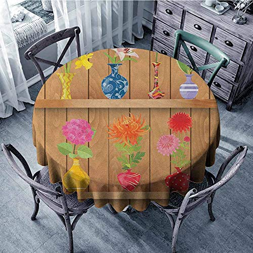 ScottDecor Overlays Round Tablecloth Printed Tablecloth Daffodil,Glass Vases with Colorful Flowers on Wooden Shelves with Pastel Effects Artsy Graphic, Multi Diameter 70