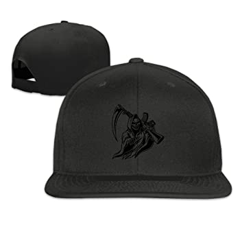 Grim Reaper with Gun Unisex Causal Fitted Flat Bill Boarder Hat for Men and Women