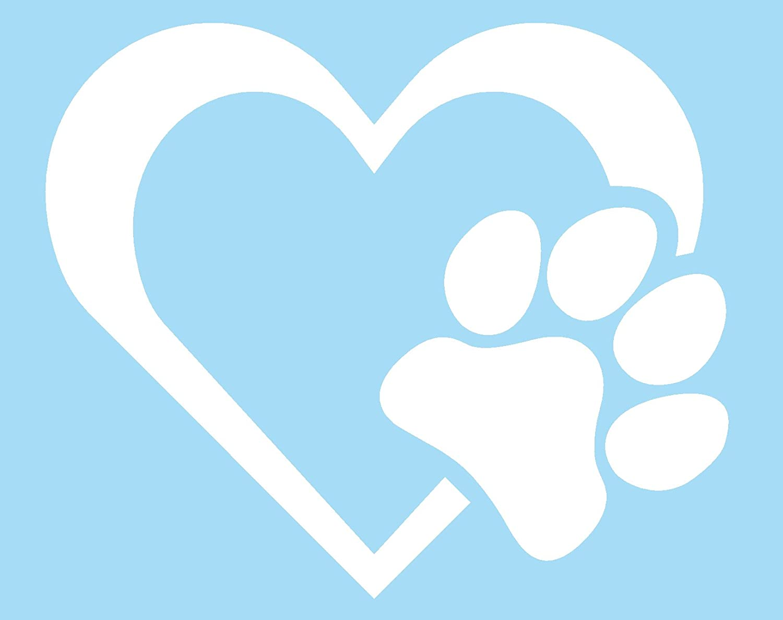 White Car Window Heart Paw Sticker Vinyl Decal Dog Cat Pet Puppy Love Wall Decor