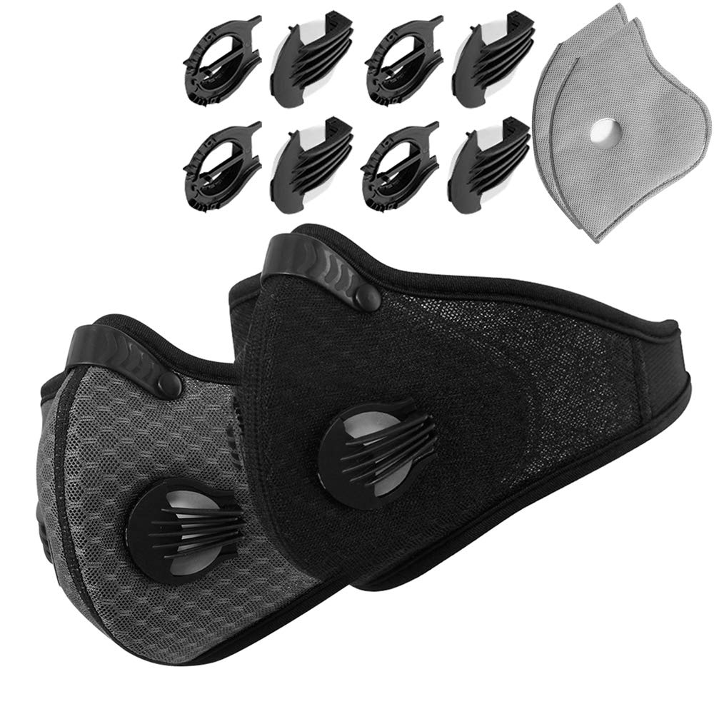 Novemkada Dustproof Masks - 2 Pack Activated Carbon Dust Mask with Extra Filter Cotton Sheet and Valves for Exhaust Gas, Pollen Allergy, PM2.5, Running, Cycling, Outdoor Activities (Black and Gray) by Novemkada