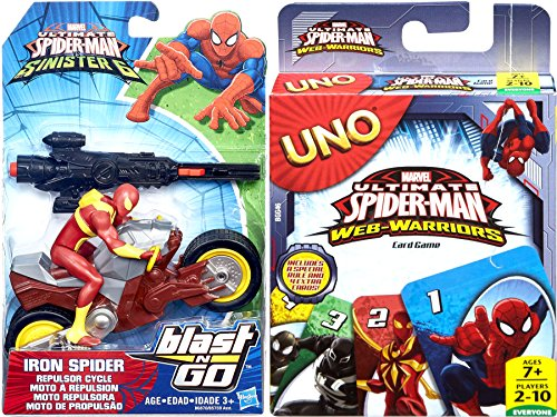 Web Warriors Go! UNO Disney Spider-Man Edition Card Game & Marvel Ultimate Spider-Man vs. The Sinister Six: Iron Spider with Repulsor Cycle Character Figure Collectible Bundle Pack