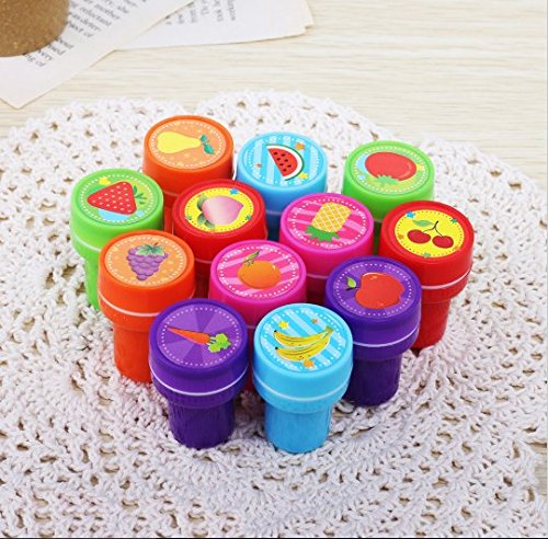 URToys 12Pcs/Set Kids Cartoon Toy Fruit Stamp DIY Decorative Painting Scrapbooking Decoration Kindergarten Teacher Award Prizes Stamp