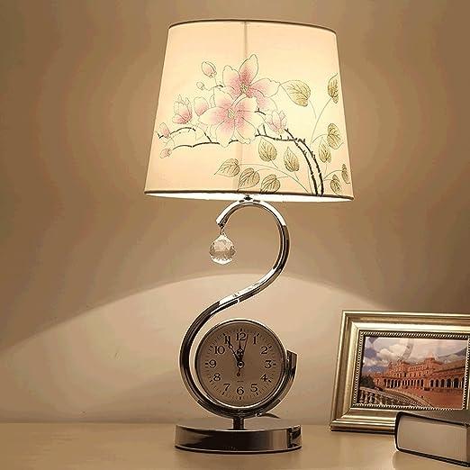 PIAOLING Dormitorio lámpara de Mesa, Despertador, salón Europeo ...