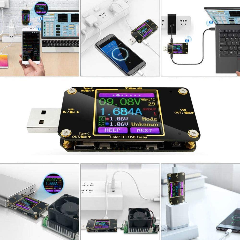 Jolicobo D/étecteur de Tension USB Noir Type-C Testeur de Charge USB D/étecteur de Charge 0-5.1A 4-30V Voltm/ètre Testeur damp/èrem/ètre