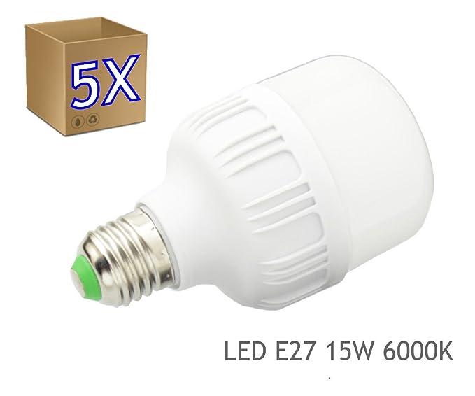 5 x Bombilla LED 15W rosca E27 luz 6000K blanco frio - Jandei