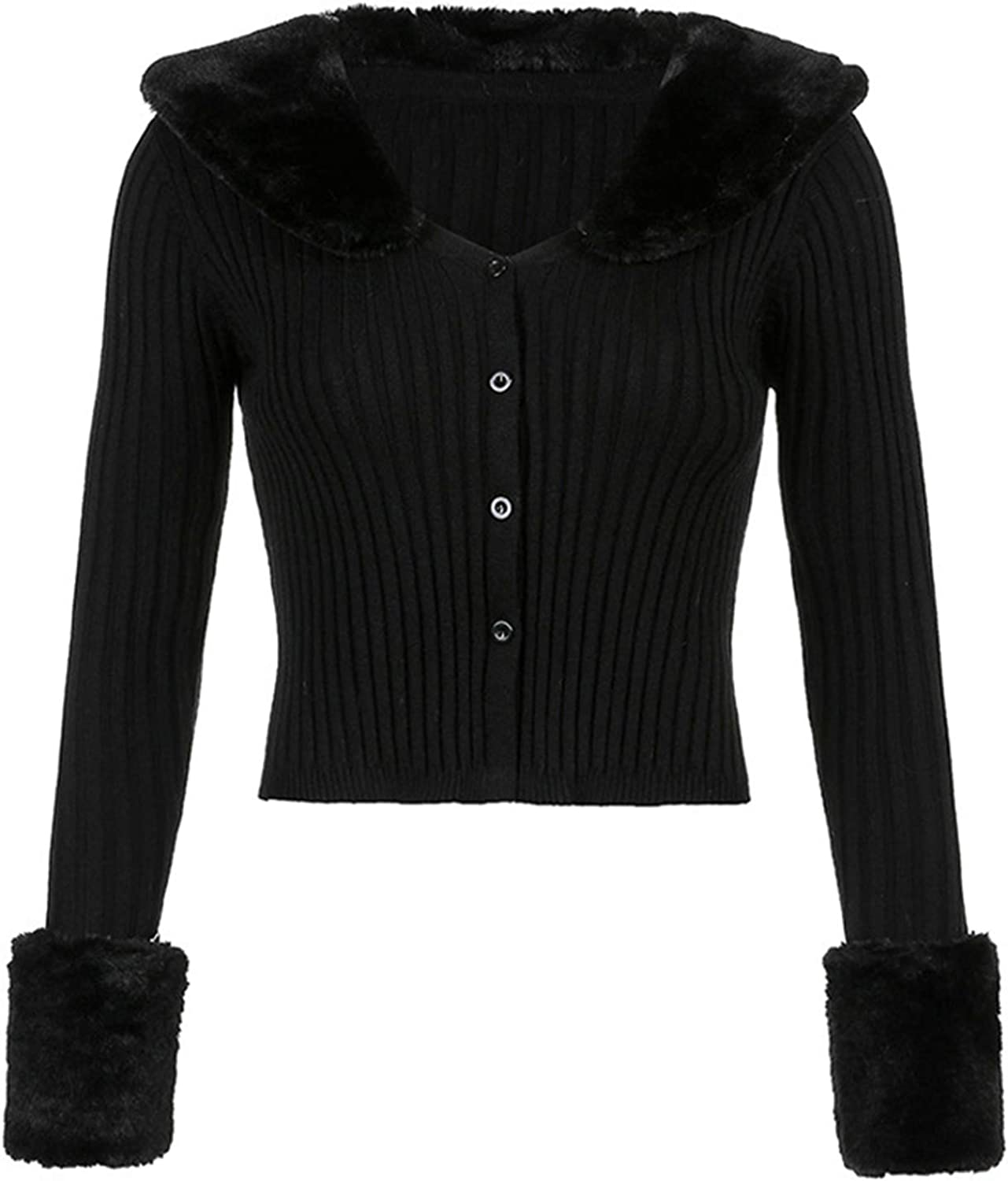 Womens V-Neck Long Sleeve Cropped Tops Slim Fit T-Shirt Button Up Cardigan Coats