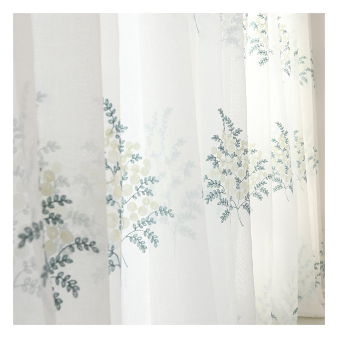 Aside Bside Shrub Embroidered Sheer Curtains Rural Style Breathable Window Decoration Rod Pocket Top For Child Room Sitting Room and Houseroom (1 Panel, W 52 x L 104 inch, White)