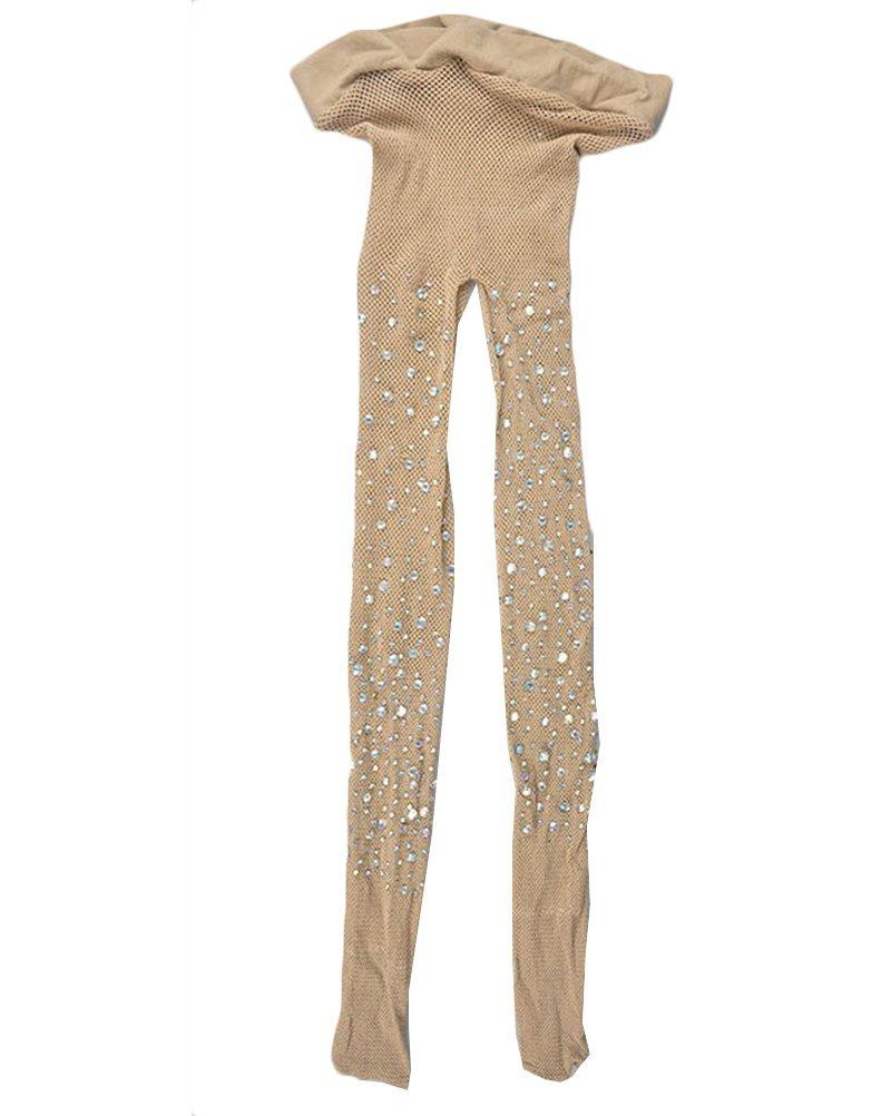 Tuesdays2 Women Sparkle Rhinestone Fishnet Stockings Pantyhose (Nude 2)
