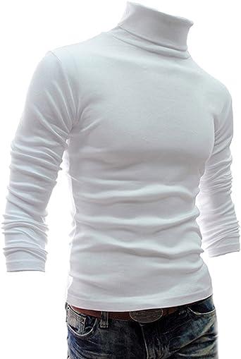 Hombre Suéter de Cuello Alto Básico Ajustado Pull-Over Slim Fit Jersey Blanco S: Amazon.es: Ropa y accesorios