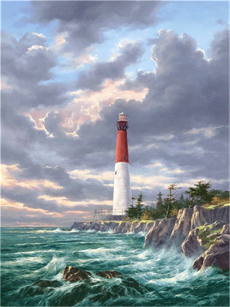 Diy Oil Paint by Number Kit for Adults Beginner 16x20 inch - Seaside Lighthouse Storm, Drawing with Brushes Christmas Decor Decorations Gifts (Frame) by XDXART