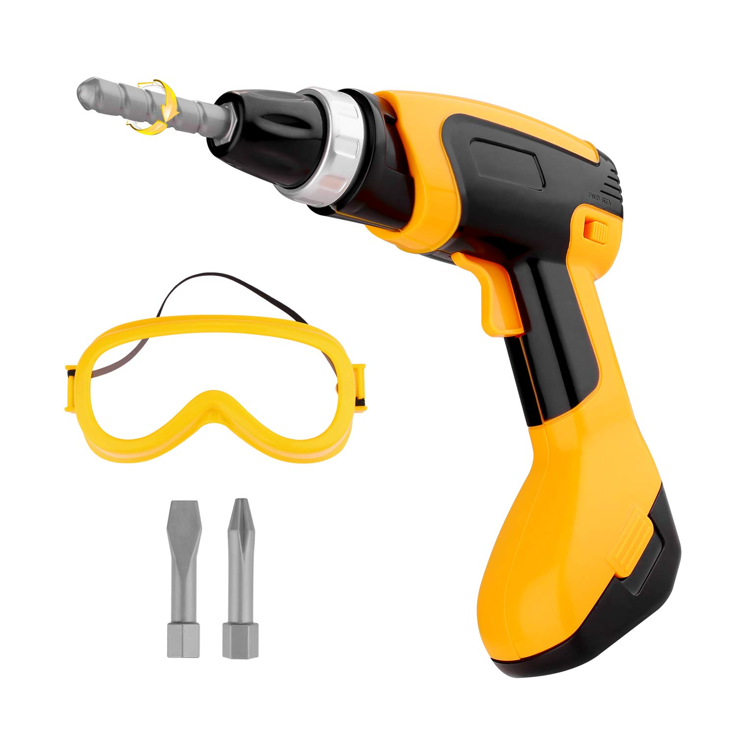 Toy Power Tool Drill, Kids Power Construction Tool Electric Drill with Goggle, Toddlers Toy Shop Tools for Boys