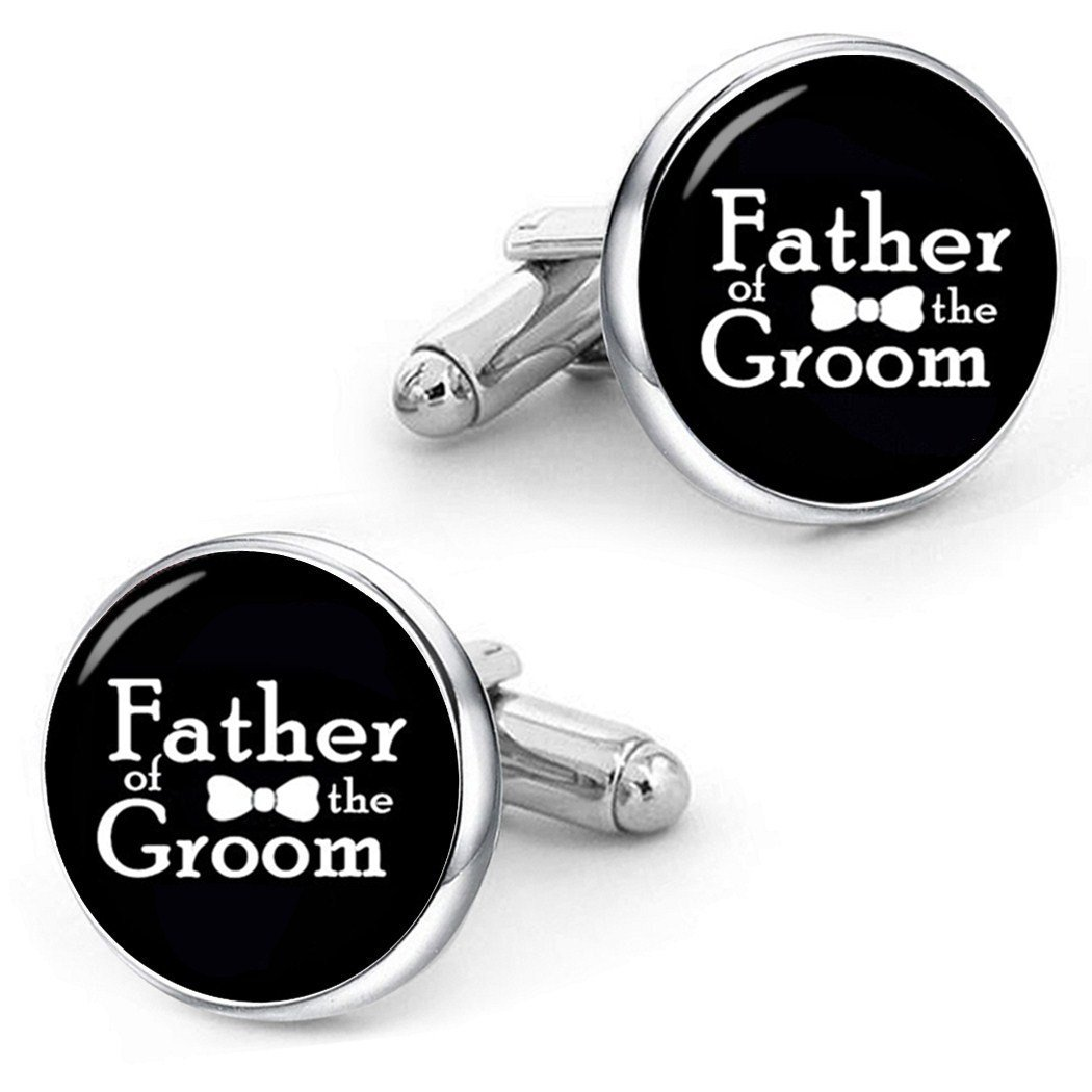 Kooer Father of the Groom Cufflinks Custom Personalized Wedding Cuff Links For Groom's Father (Father of the groom-Silver plated cufflinks)