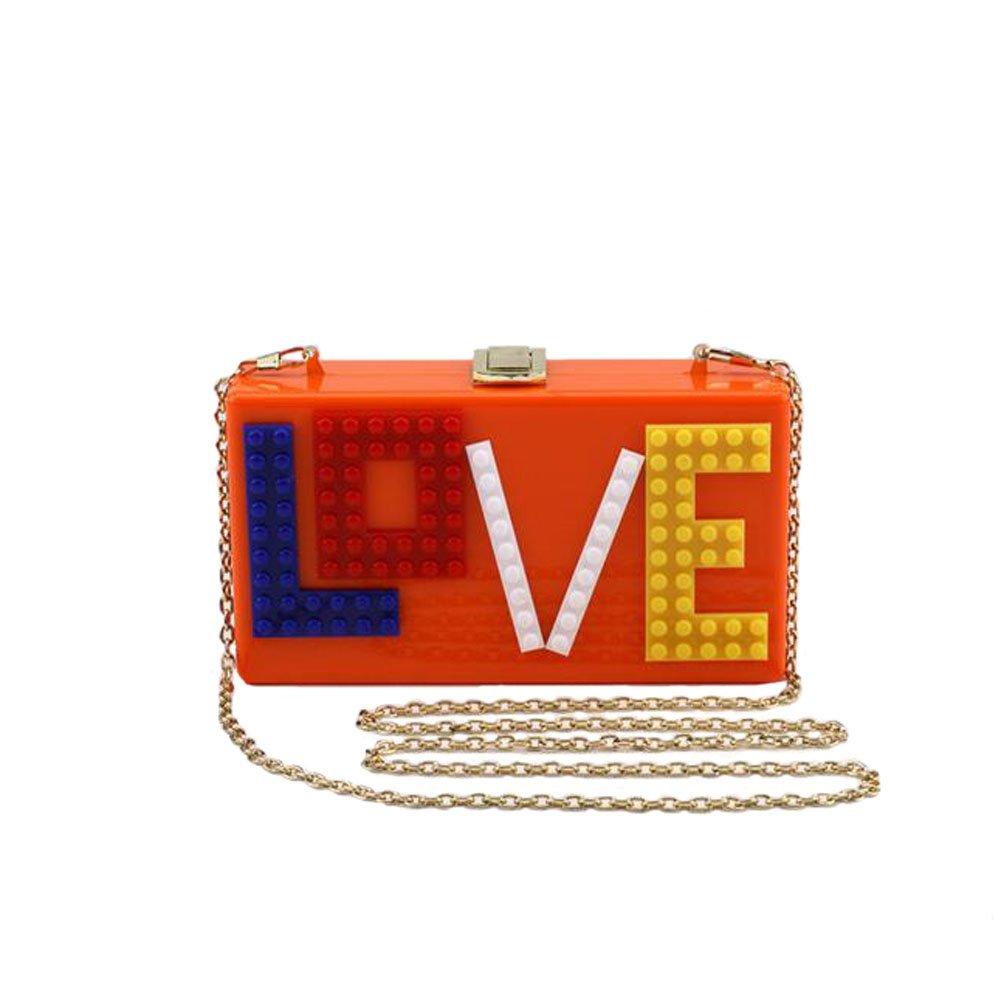 Angelliu Women's Rectangular Acrylic Lucite LOVE Evening Bag Party Clutch Handbag Orange