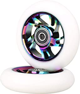 100mm Scooter Wheels - Pro Scooter Wheels 100mm Pair - Neo Oil Slick 100mm Metal Scooter Wheels Replacement - Pro Scooter Wheels 100mm - Bearings Installed - Scooter Wheels for Kids