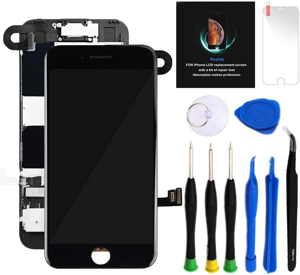 "for iPhone 8 Plus Screen Replacement Kit Black 5.5"" LCD Display iPhone 8 Plus Replacement Touch Screen Digitizer Full Assembly with Front Camera+ Earpiece+ Repair Tools Kit+ Screen Protector (Black)"