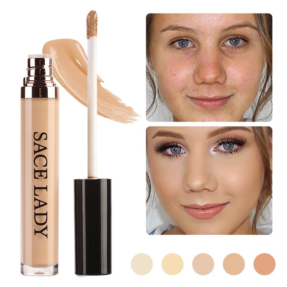 SACE LADY Full Coverage Liquid Concealer, Pro Long Wearing Smooth Concealer for Dark Circles,Blemishesand Spots (04.Warm Natural)