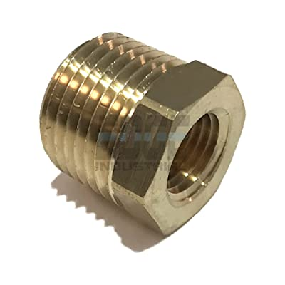 "EDGE INDUSTRIAL Brass REDUCING HEX Bushing 1/2"" Male NPT X 1/4"" Female NPT Fuel / AIR/ Water / Oil/ Gas WOG (Qty 01): Automotive"