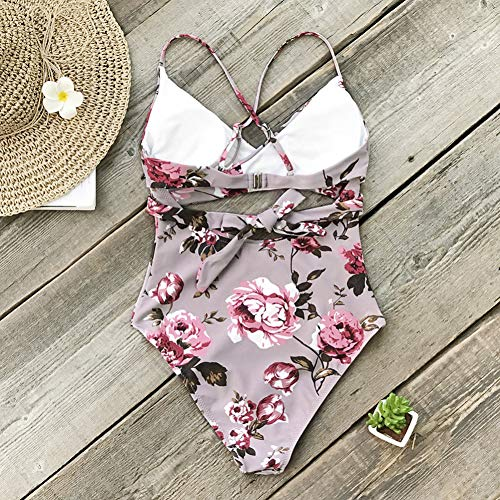 Floral Cutout Bathing Swimsuit Pink Women Beach One Wrap piece Suits L 2019 Girl Shengyunpio Swimwear H5SxZqww